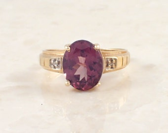 14K Yellow Gold Brown Tourmaline and Diamond Ring