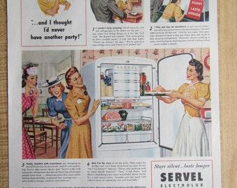 1941 SERVEL ELECTROLUX Gas REFRIGERATOR  magazine ad.