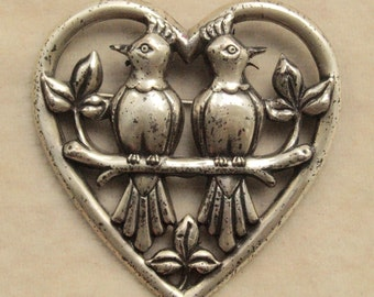 Sterling Craft By Coro Love Birds In Heart Pin