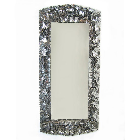 Long rectangular handcut glass mirror for Long glass mirror