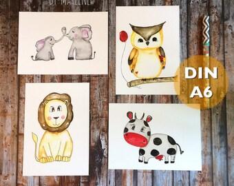 Nursery pictures set Lion, cow, OWL & elephant