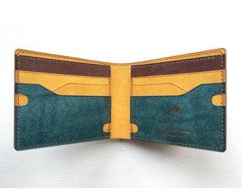 New design bifold wallet, piece wallet, artpiece wallet, navy wallet, billfold wallet, mens leather wallet, design leather wallet