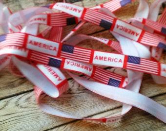 4th Of July - American Flag - 5/8 Fold Over Elastic ~FOE~ You Choose 2,3,5 Yards - Headband Supplies - Diy - FOE