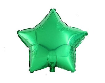 Metallic green star shaped balloon 45 cm