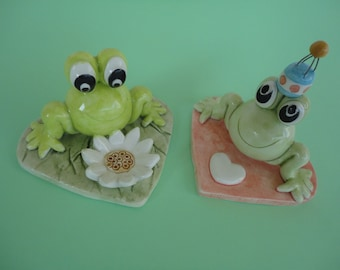 Two funny ceramic frogs- handmade ceramic frogs- gift idea- MADE TO ORDER