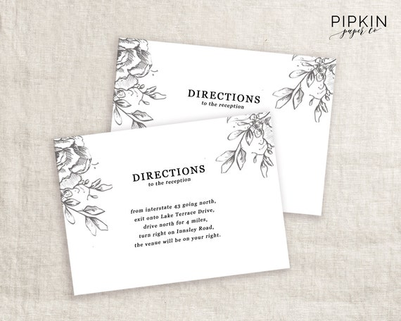Wedding directions card template printable wedding wedding directions card template printable wedding invitation digital download for word fully customizable stopboris Choice Image