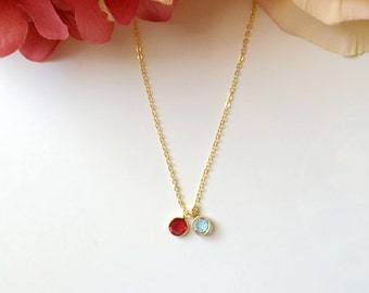 Two Birthstones Necklace. Mother Grandma Gift.