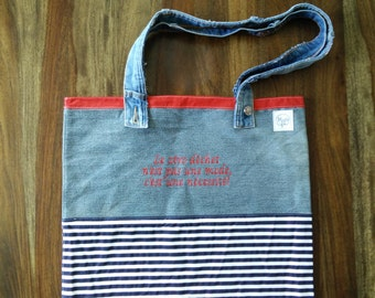 Unique reusable bag made of recycled fabrics embroidered and made to last! -Strong and durable - bags Zero waste