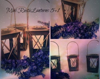 Set Of 6 Mini Rustic candle holders, Moroccan Lanterns,Mini lanterns,Hanging Lanterns, Rustic Decoration