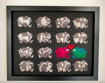 Elephant Picture Frame ~ I Love You ~ Valentine's ~ Anniversary ~ Happy Birthday ~ Handmade ~ Frame ~ Elephants