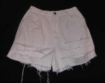 """RIO High Waisted Destroyed White Jean Cut-Off Shorts 26"""" Waist"""