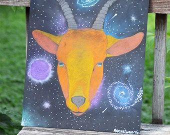"ORIGINAL ARTWORK - ""SPACEGOAT"" Surrealist Pastel/Acrylic Drawing 16x20"