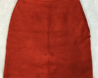Vintage 1960s Red Suede High Waist Mini Skirt Mod 8 UK Small