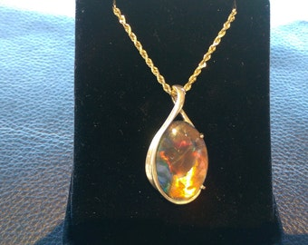 AAA Huge Idaho Opal 14k Gold Chain & Pendant Rainbow Red Orange Yellow Green Blue Purple Pink