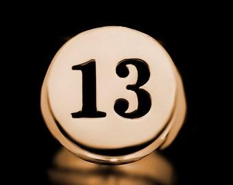 13 Signet Ring Brass Luck Charm Vegas Number