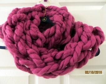 Super Chunky Arm Knit Magenta Infinity Scarf
