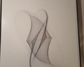 black India ink harmoniic drawing,,, Framed...