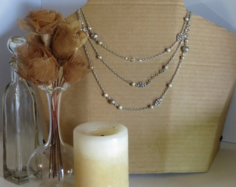 Extra-Long Silver Bead Necklace