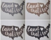 Engraved Wood Land that I Love United States Cutout with Heart Cut Out Patriotic Wall Home Decor