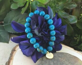 Blue Jasper with Pyrite Gemstone Bracelet with Gold Medallion Charm