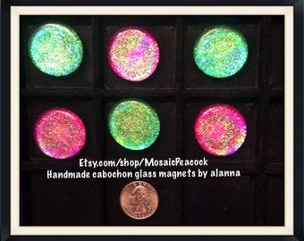 Iridescent and luminous glass cabochon refrigerator magnets. Neodymium magnets used on all.