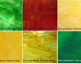 """Spring Color - 6 Stained Glass Sheet Pack (Spectrum & Wissmach Glass) 8""""x10"""""""