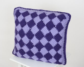 Crochet Pillow Cover Purple/Lilac