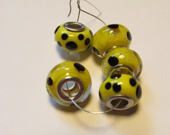 5 glass beads fits european bracelet - LHJ1-5