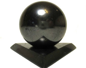 Shungite Schungit Polished Sphere 50mm Stone With Stand elite crystals mineral