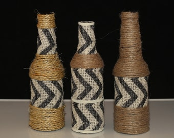 Decorated beer bottles