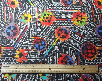 OOP Black and Neon Tribal Print, END of BOLT 94 inches, Southwest Print, 1990s Neon, Native Print, Aztec Print, Retro Fabric, Out of Print