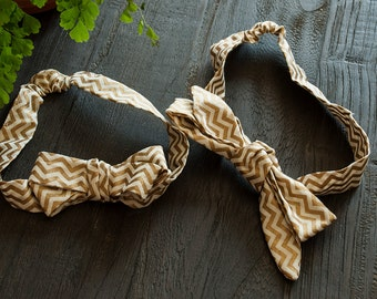 Headband for Baby - Gold and Cream ZigZag Bow
