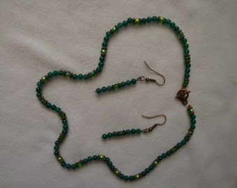 Necklace and Earring Set, Emerald Green and Copper-Plated Beads