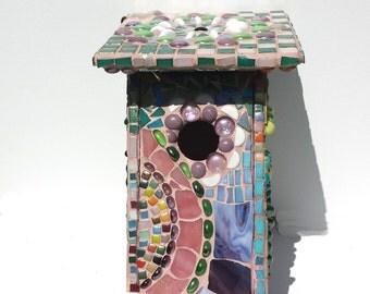 Mosaic blue bird house