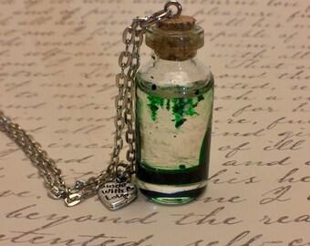 Green Glass Bottle Pendant