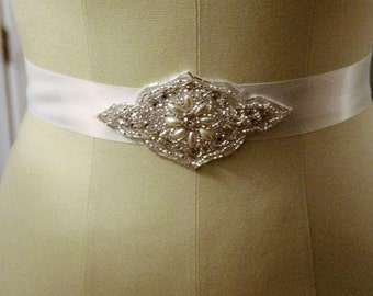 Satin Ribbon Belt with Beaded Applique