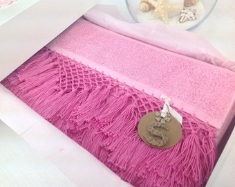 Decorative Hand made bath towel & with box
