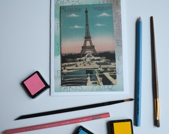Vintage Paris Postcard from Eiffel Tower-- Repurposed Greeting Card-- Date Unknown--Hand-Carved Stamp Inside