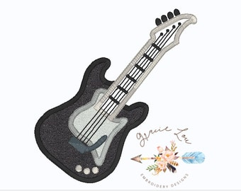 Electric Guitar Embroidery Design, guitar embroidery design, guitar appliqué design 4x4 and 5x7