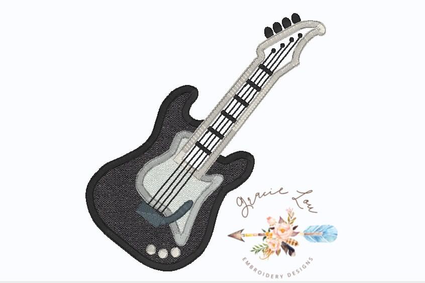 electric guitar embroidery design guitar embroidery design. Black Bedroom Furniture Sets. Home Design Ideas