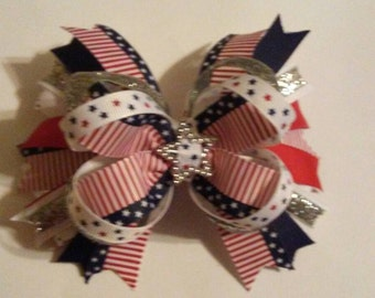 American flag hair bow or headband, July 4th hair bow/heaband Stars and stripes hair bow, red, white, and blue hair bow, patriotic hair bow