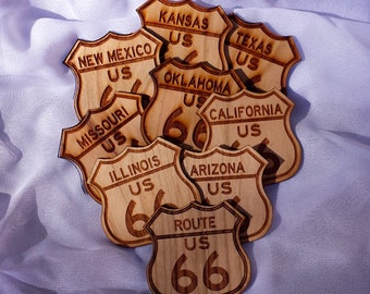 Route 66 Magnet Collection /9 Magnets for Full Route 66 Collection /Wooden Magnets Full Route 66 Set /Route 66 States Wood Magnets