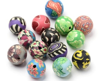 50 Handmade Polymer Clay Round Beads 12mm (B3k)