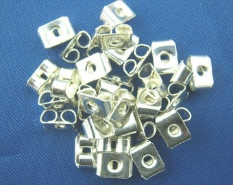 10pr Silver Plated Earring Ear Nuts 4 x 5mm (B23e2)