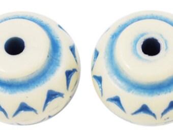 20 Antique Look Acrylic Abacus Beads 14 x 11mm Light Blue (B46j)