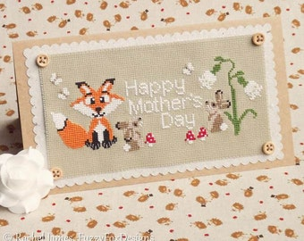 Woodland Babies Mother's Day Card Cross Stitch Pattern PDF | Easy | Modern | Beginners Counted Cross Stitch | Instant Download
