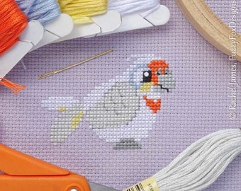 Cute Little Corella Cross Stitch Pattern PDF | Cute Little Bird | Easy | Modern | Beginners Counted Cross Stitch | Instant Download
