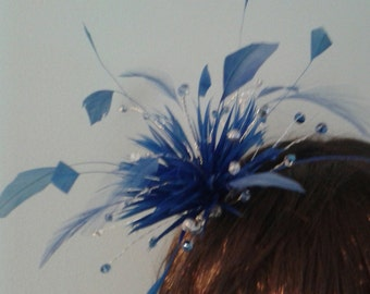 Crystal and feather fascinator