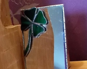 Four leaf clover stained glass mirror, Lucky 4 leaf Irish glass art, glassware green color, best selling items, gift for the wife girlfriend