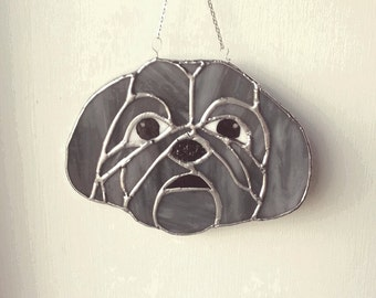 Shih Tzu gifts, Stained Glass, glass Suncatcher, dog lover gift, shih tzu, pet gift, sun catcher, Hanging glass, wall art, dog owner gift,